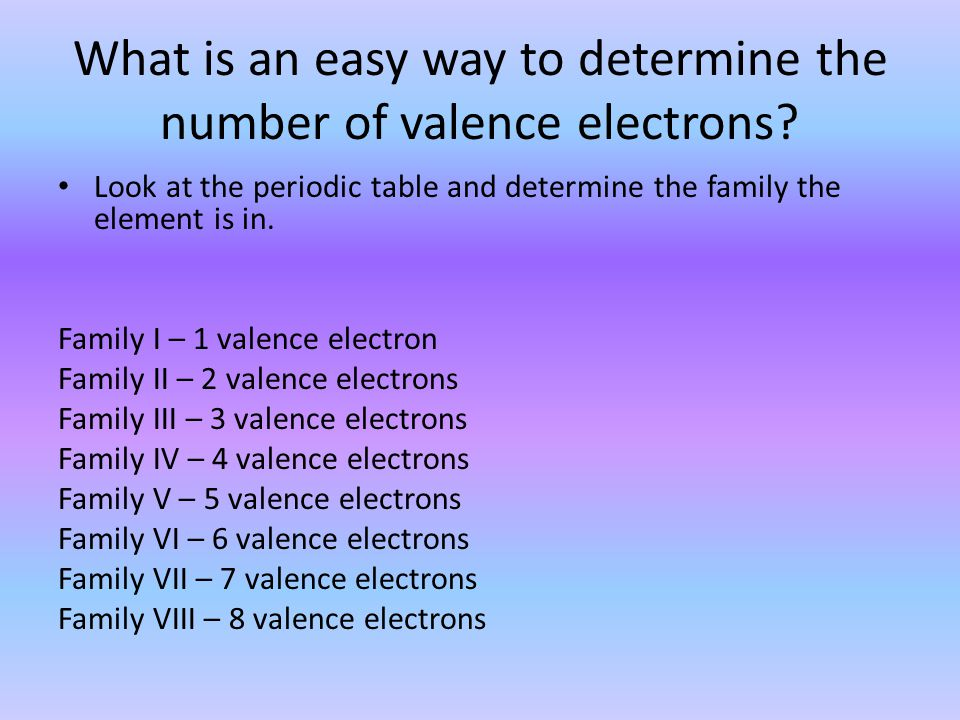 What is an easy way to determine the number of valence electrons? Look at the periodic table and determine the family the element is in. Family I – 1