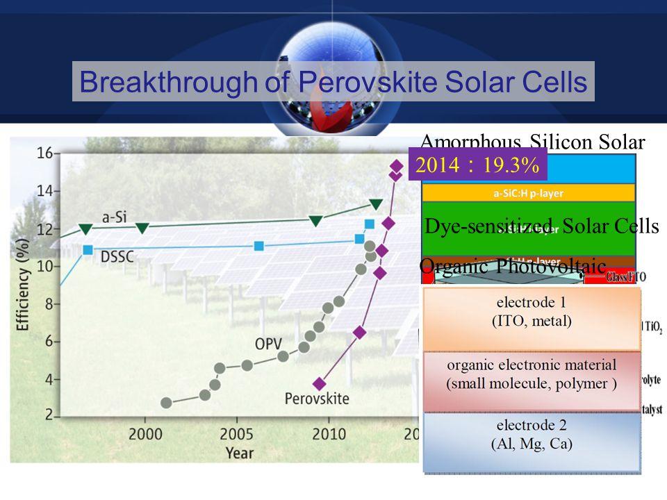 Breakthrough of Perovskite Solar Cells Amorphous Silicon Solar Cell Dye-sensitized Solar Cells Organic Photovoltaic 2014 : 19.3%