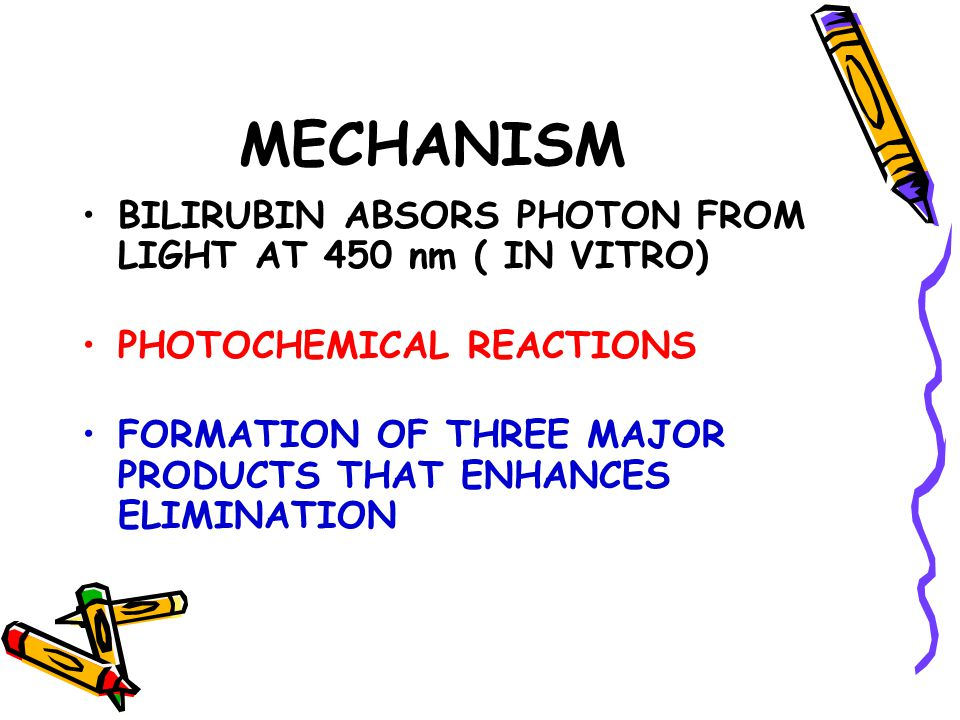 MECHANISM BILIRUBIN ABSORS PHOTON FROM LIGHT AT 450 nm ( IN VITRO) PHOTOCHEMICAL REACTIONS FORMATION OF THREE MAJOR PRODUCTS THAT ENHANCES ELIMINATION