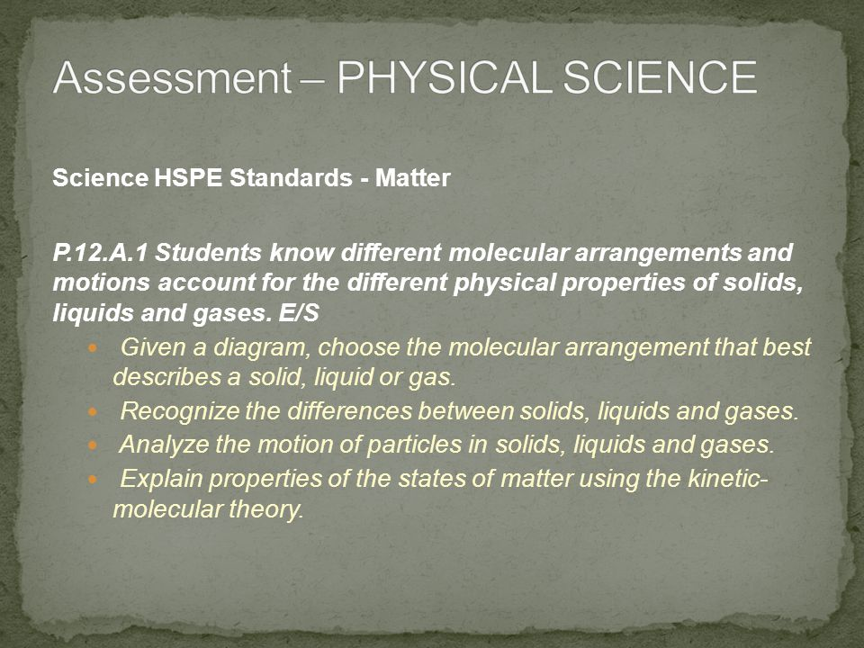 Science HSPE Standards - Matter P.12.A.2 Students know elements in the periodic table are arranged into groups and periods by repeating patterns and relationships.