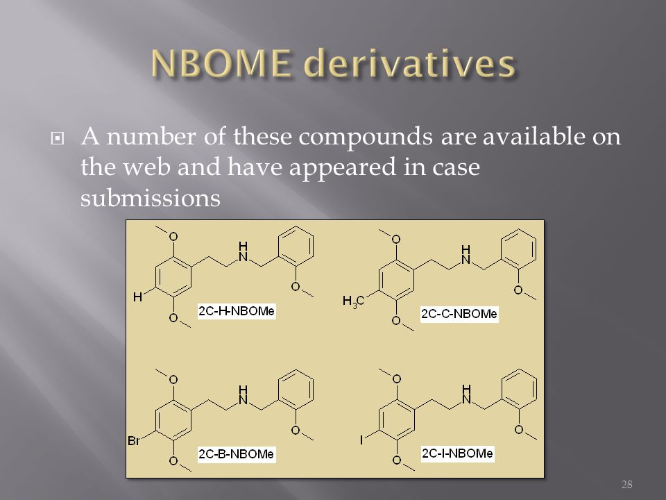  A number of these compounds are available on the web and have appeared in case submissions 28