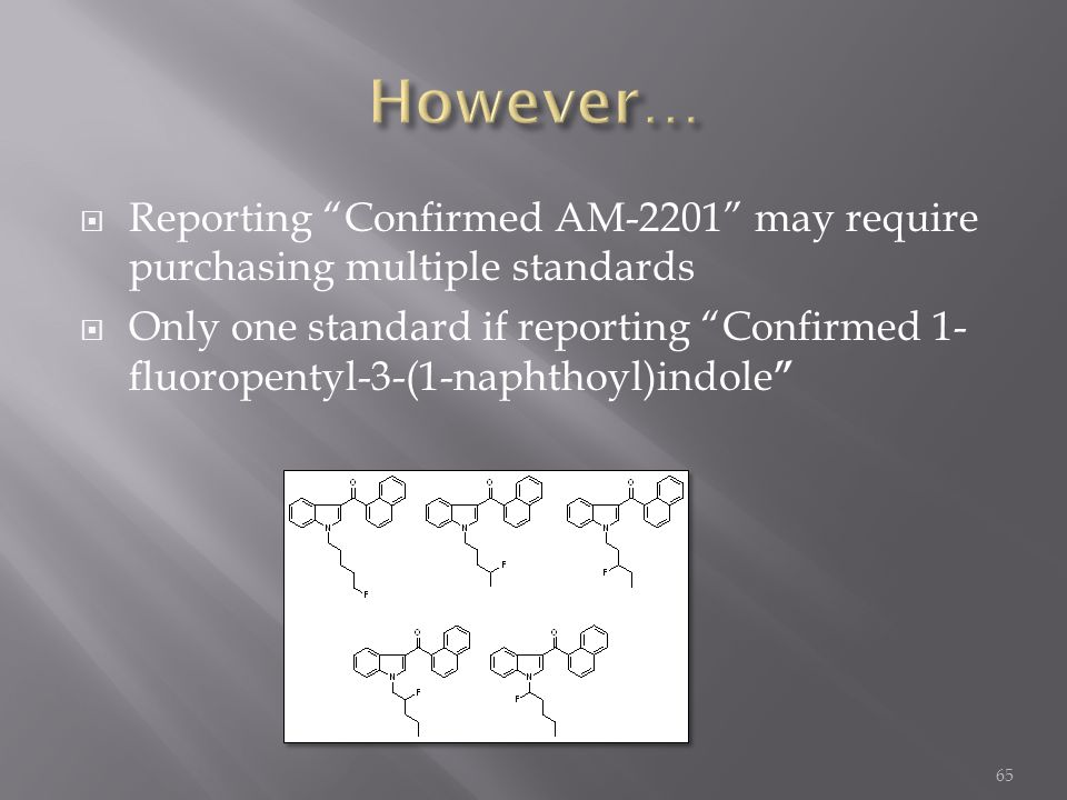 " Reporting ""Confirmed AM-2201"" may require purchasing multiple standards  Only one standard if reporting ""Confirmed 1- fluoropentyl-3-(1-naphthoyl)i"