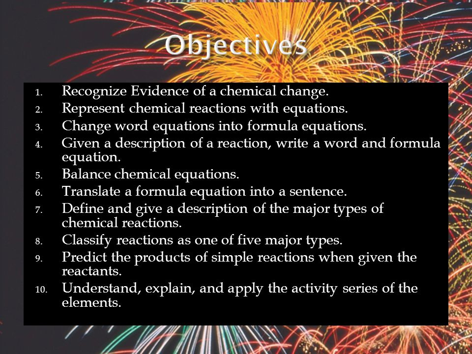 Uses chemical formulas instead of words Fe (s) + Cl 2 (g)  FeCl 3 (s)