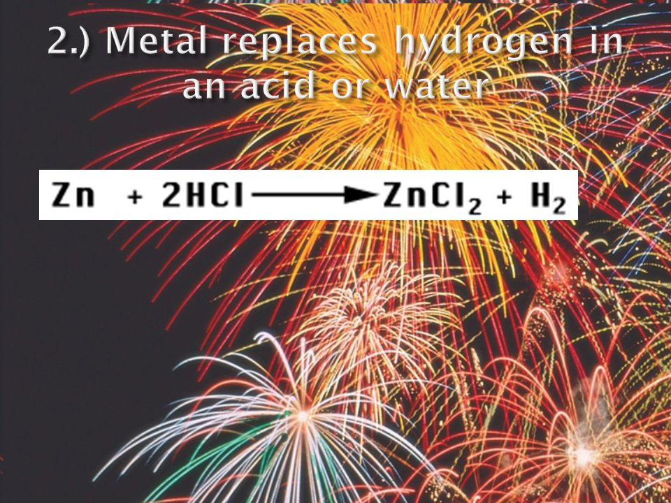  when zinc combines with iron (II) chloride the zinc replaces iron in the compound  Z n + FeCl 2  Fe + ZnCl 2