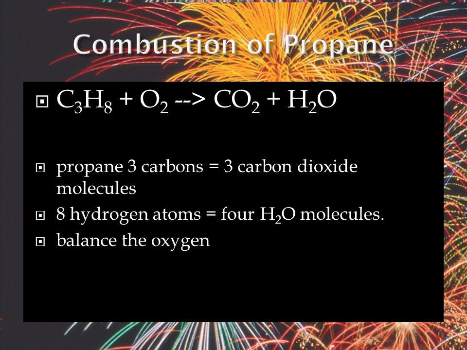  Hydrocarbon (C x H y ) + O 2(g) → CO 2(g) + H 2 O (g)  EX.
