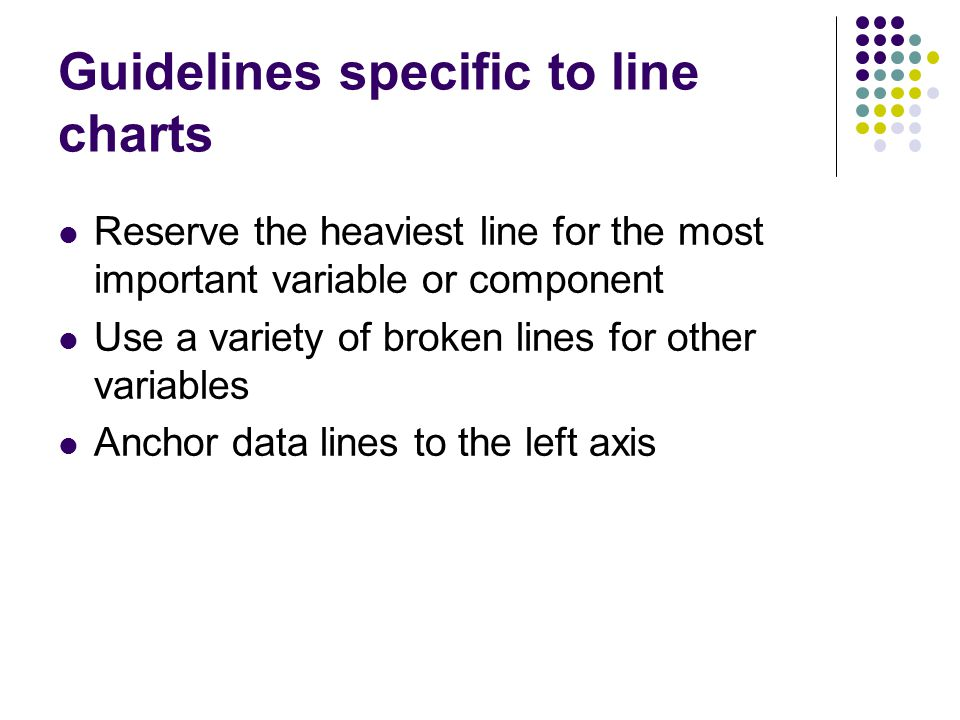 Guidelines specific to line charts Reserve the heaviest line for the most important variable or component Use a variety of broken lines for other vari