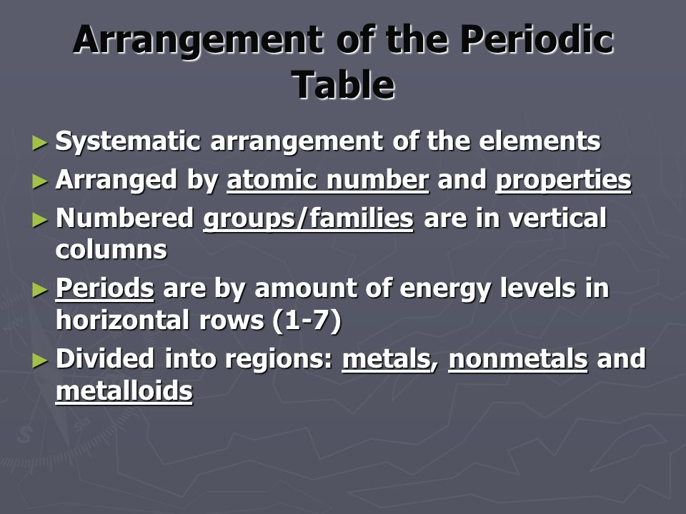 Arrangement of the Periodic Table ► Systematic arrangement of the elements ► Arranged by atomic number and properties ► Numbered groups/families are in vertical columns ► Periods are by amount of energy levels in horizontal rows (1-7) ► Divided into regions: metals, nonmetals and metalloids