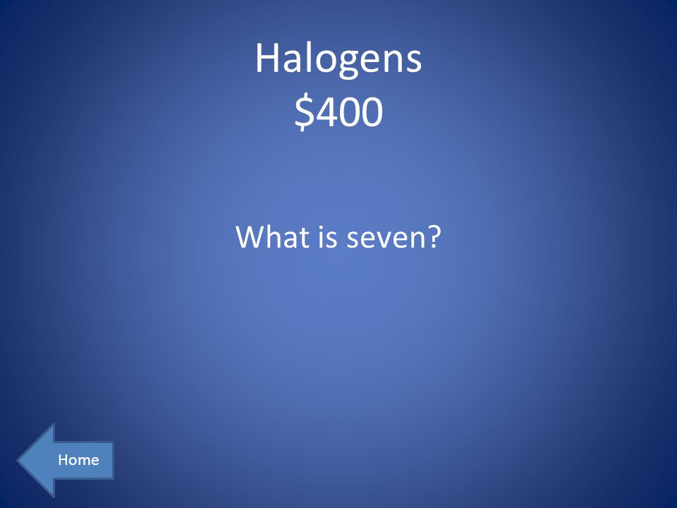 Halogens $400 Home What is seven?