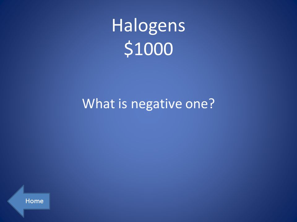 Halogens $1000 Home What is negative one?