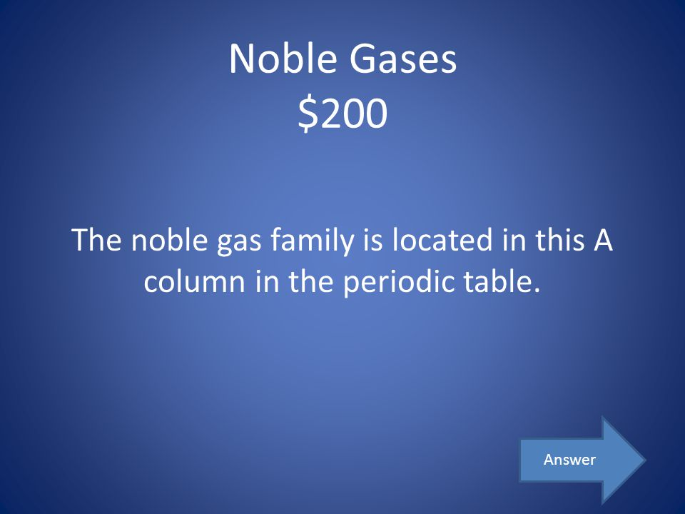 Noble Gases $200 The noble gas family is located in this A column in the periodic table. Answer