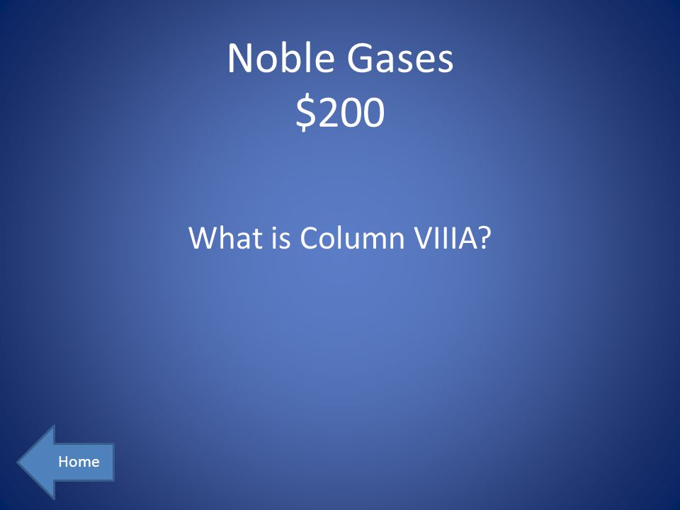 Noble Gases $200 Home What is Column VIIIA?