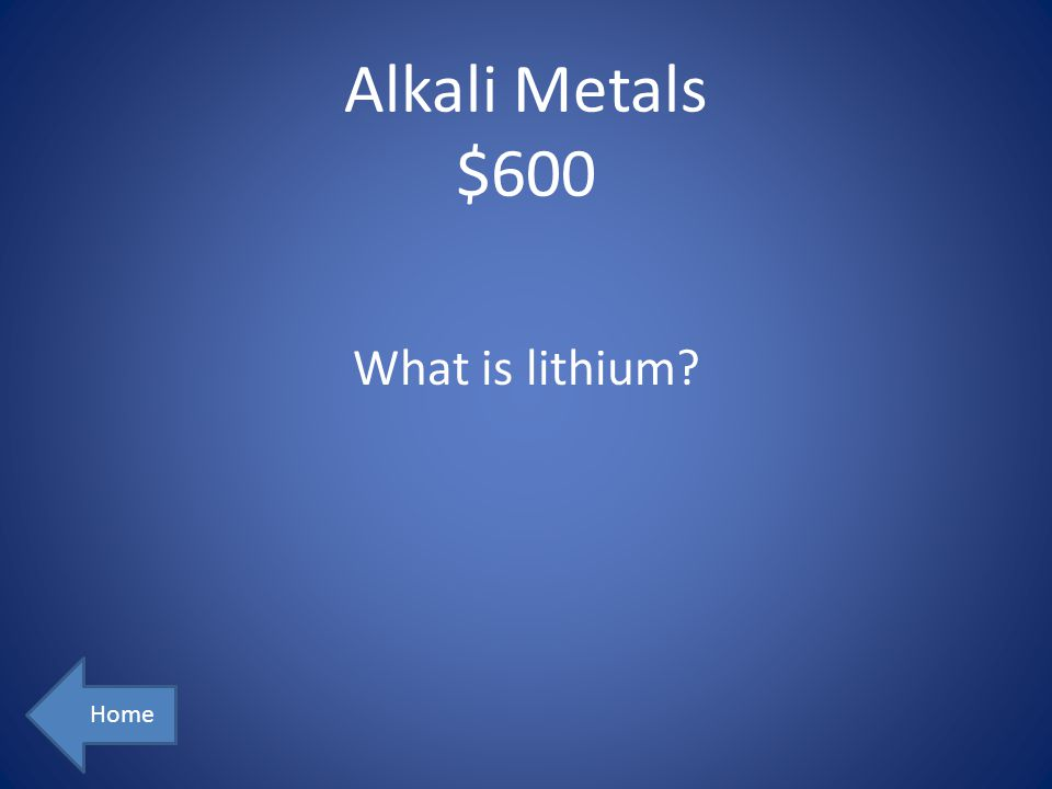 Alkali Metals $600 Home What is lithium?