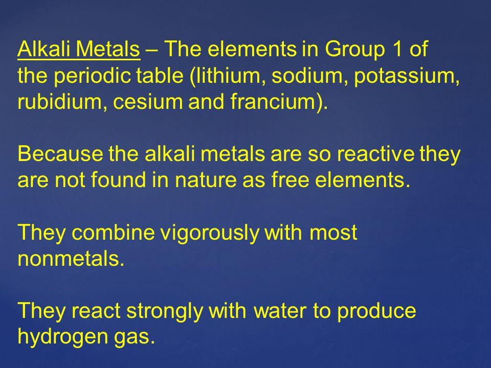 Alkali Metals – The elements in Group 1 of the periodic table (lithium, sodium, potassium, rubidium, cesium and francium). Because the alkali metals a