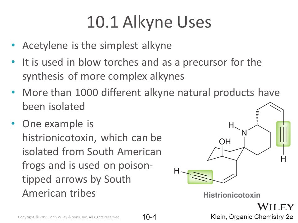 10.1 Alkyne Uses Acetylene is the simplest alkyne It is used in blow torches and as a precursor for the synthesis of more complex alkynes More than 10