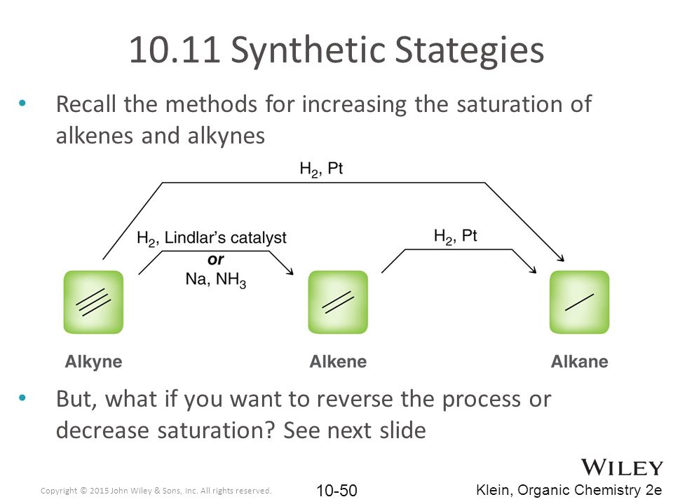 Recall the methods for increasing the saturation of alkenes and alkynes But, what if you want to reverse the process or decrease saturation? See next