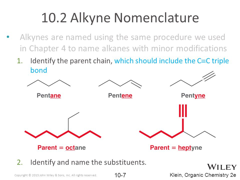 Alkynes are named using the same procedure we used in Chapter 4 to name alkanes with minor modifications 1.Identify the parent chain, which should inc