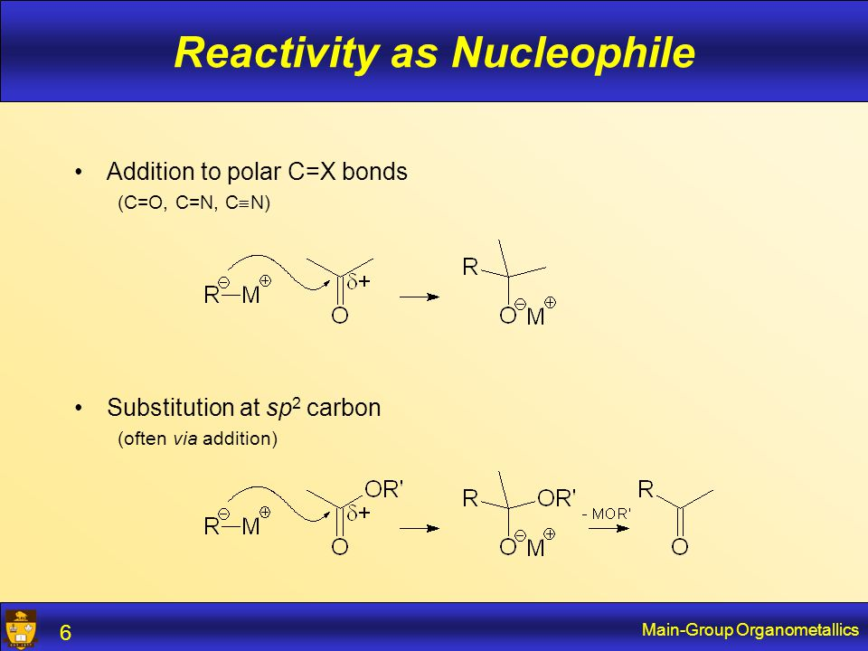Main-Group Organometallics 6 Reactivity as Nucleophile Addition to polar C=X bonds (C=O, C=N, C  N) Substitution at sp 2 carbon (often via addition)