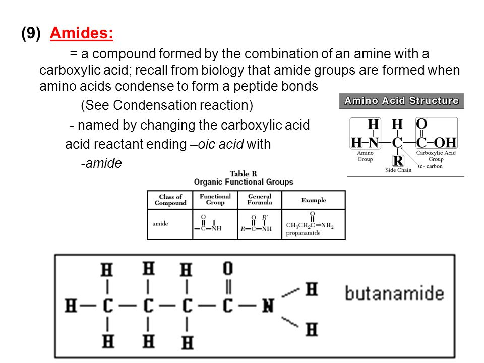 (9) Amides: = a compound formed by the combination of an amine with a carboxylic acid; recall from biology that amide groups are formed when amino aci