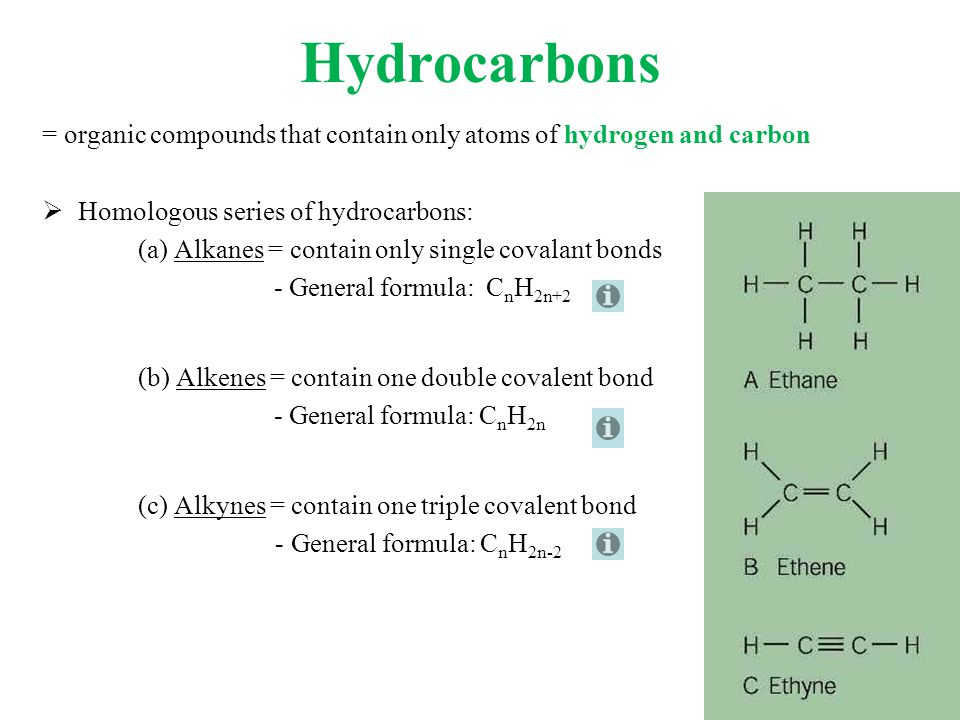 Hydrocarbons = organic compounds that contain only atoms of hydrogen and carbon  Homologous series of hydrocarbons: (a) Alkanes = contain only single