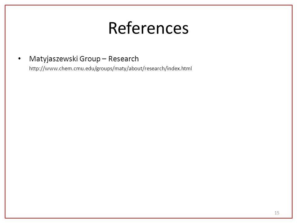 References Matyjaszewski Group – Research http://www.chem.cmu.edu/groups/maty/about/research/index.html 15
