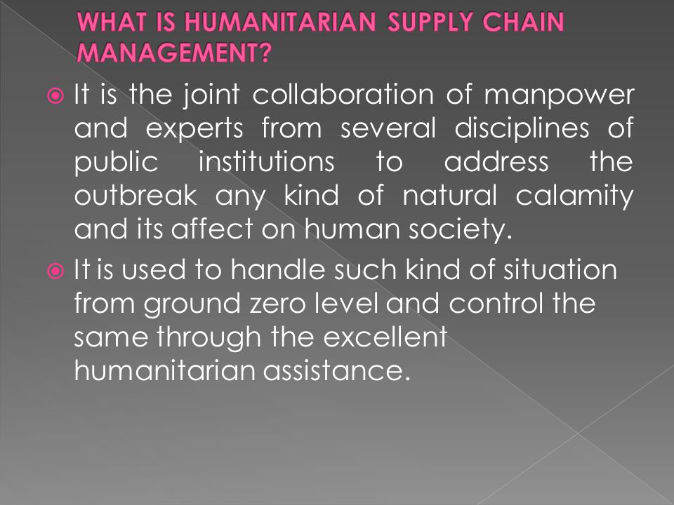  It is the joint collaboration of manpower and experts from several disciplines of public institutions to address the outbreak any kind of natural calamity and its affect on human society.