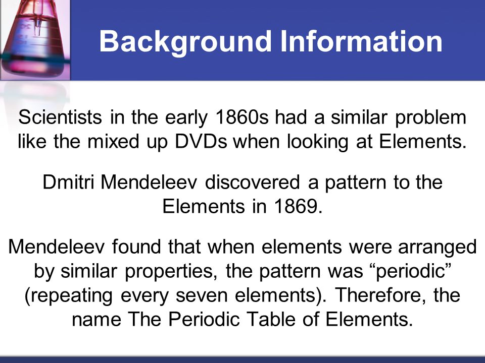 During the lesson, use the Elements on the Periodic Table Notes to record your information.