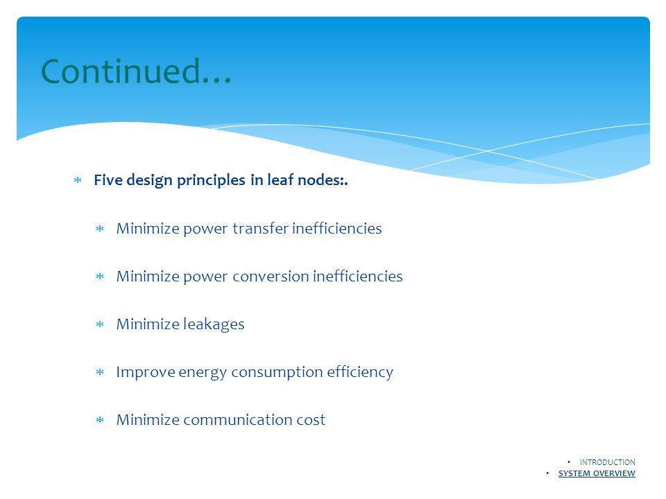  Five design principles in leaf nodes:.  Minimize power transfer inefficiencies  Minimize power conversion inefficiencies  Minimize leakages  Imp