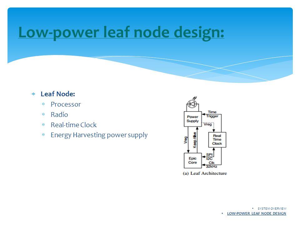  Leaf Node:  Processor  Radio  Real-time Clock  Energy Harvesting power supply Low-power leaf node design: SYSTEM OVERVIEW LOW-POWER LEAF NODE DE