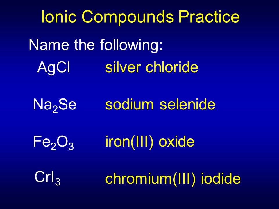Name the following: AgCl Na 2 Se Fe 2 O 3 CrI 3 Ionic Compounds Practice silver chloride sodium selenide iron(III) oxide chromium(III) iodide