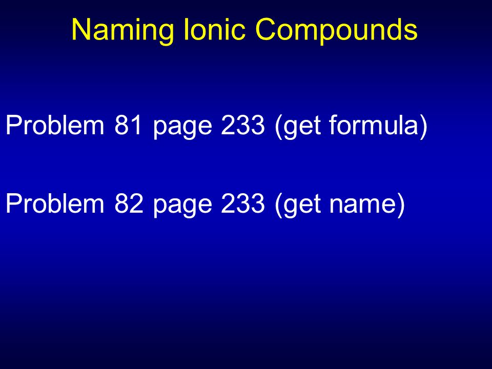 Naming Ionic Compounds Problem 81 page 233 (get formula) Problem 82 page 233 (get name)