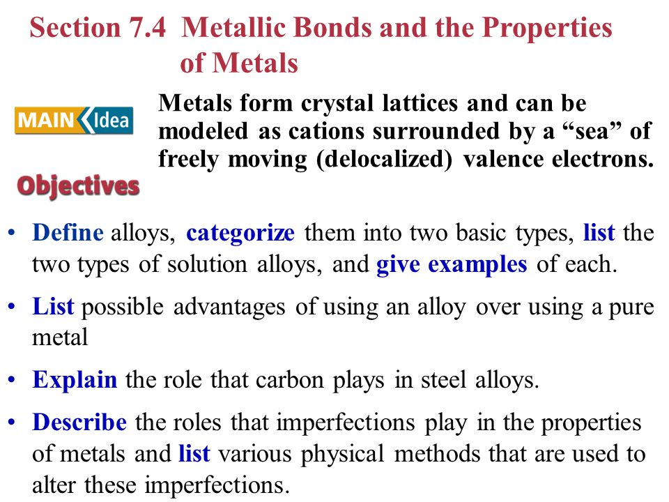 Section 7.4 Metallic Bonds and the Properties of Metals Define alloys, categorize them into two basic types, list the two types of solution alloys, an