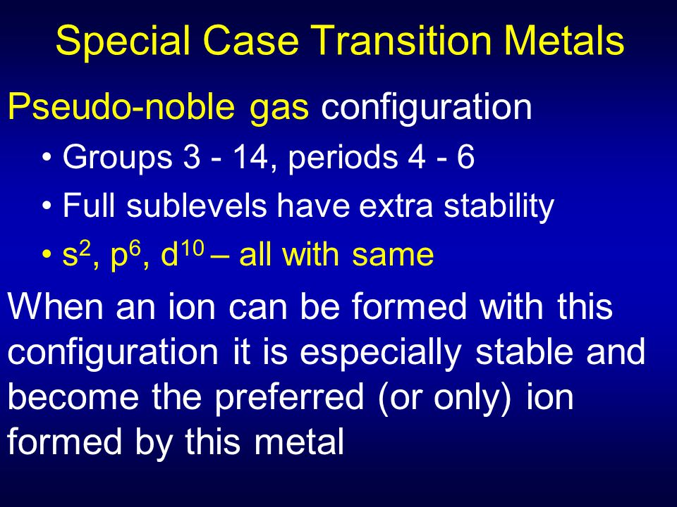 Special Case Transition Metals Pseudo-noble gas configuration Groups 3 - 14, periods 4 - 6 Full sublevels have extra stability s 2, p 6, d 10 – all wi