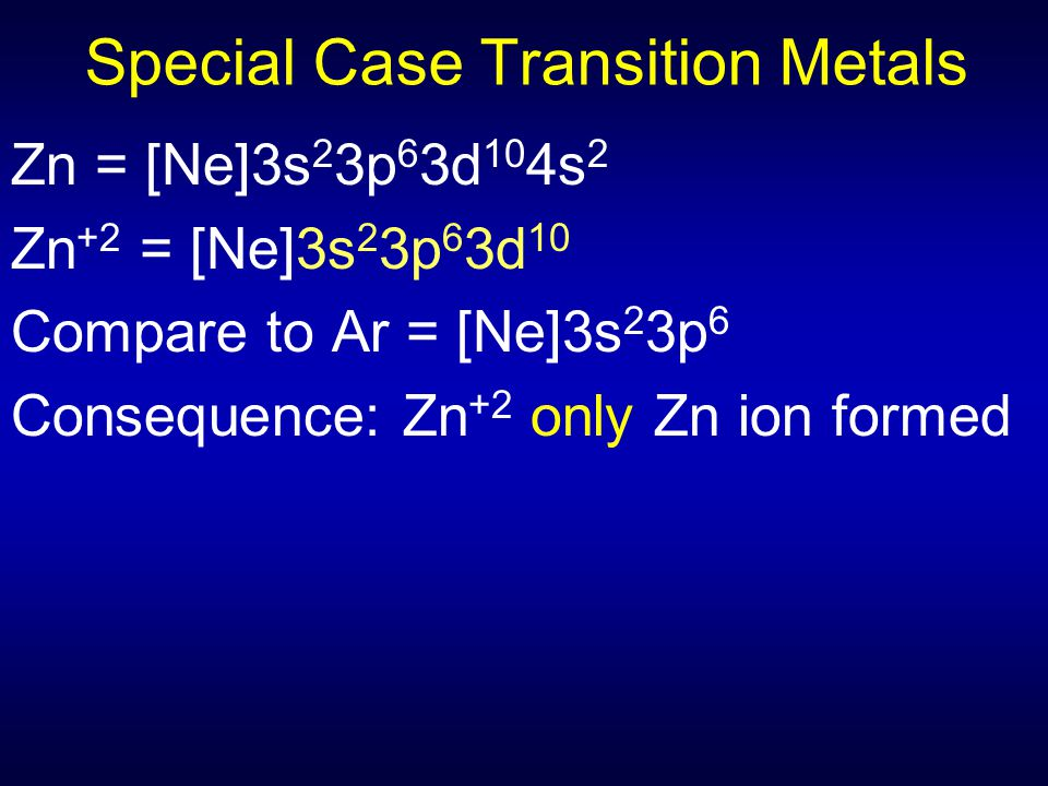 Special Case Transition Metals Zn = [Ne]3s 2 3p 6 3d 10 4s 2 Zn +2 = [Ne]3s 2 3p 6 3d 10 Compare to Ar = [Ne]3s 2 3p 6 Consequence: Zn +2 only Zn ion