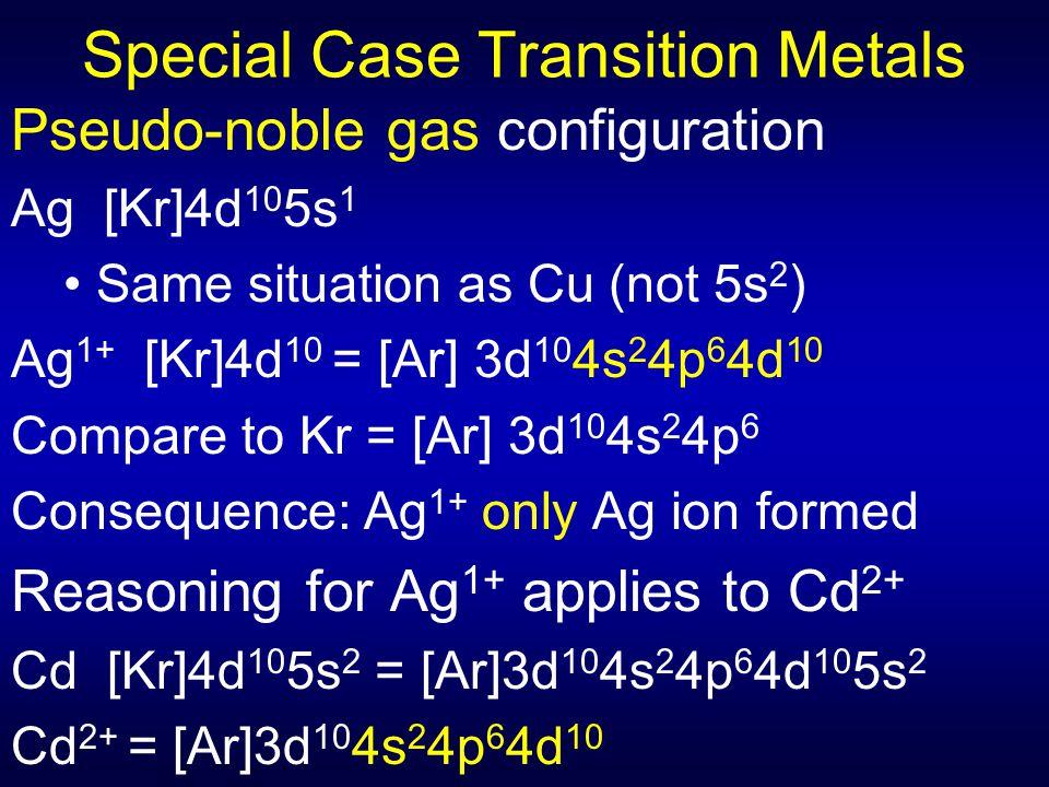 Special Case Transition Metals Pseudo-noble gas configuration Ag [Kr]4d 10 5s 1 Same situation as Cu (not 5s 2 ) Ag 1+ [Kr]4d 10 = [Ar] 3d 10 4s 2 4p