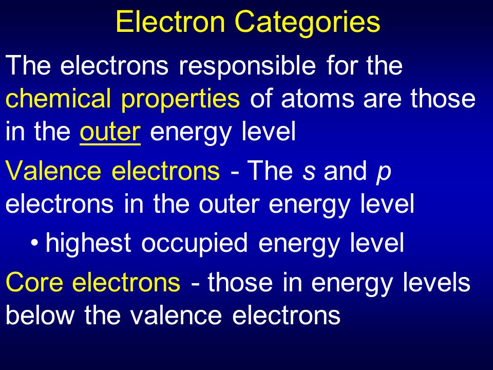 Electron Categories The electrons responsible for the chemical properties of atoms are those in the outer energy level Valence electrons - The s and p