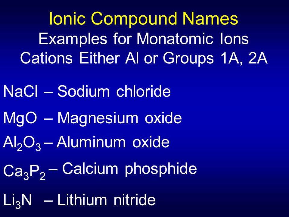 Ionic Compound Names Examples for Monatomic Ions Cations Either Al or Groups 1A, 2A NaCl– Sodium chloride MgO– Magnesium oxide Al 2 O 3 – Aluminum oxi