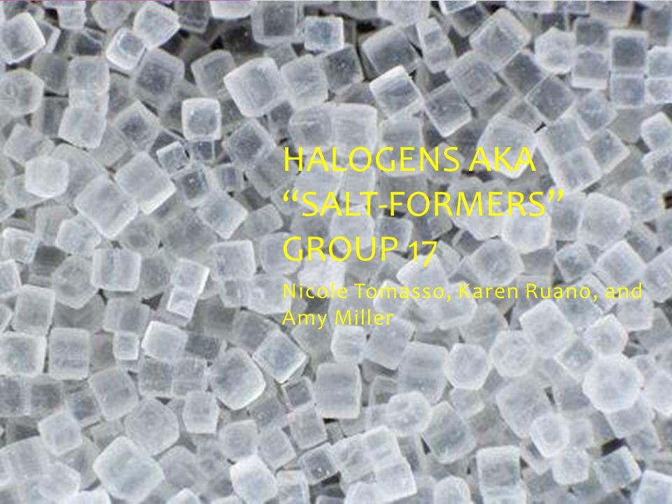 "Nicole Tomasso, Karen Ruano, and Amy Miller HALOGENS AKA ""SALT-FORMERS"" GROUP 17"