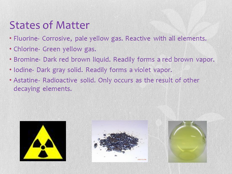 States of Matter Fluorine- Corrosive, pale yellow gas. Reactive with all elements. Chlorine- Green yellow gas. Bromine- Dark red brown liquid. Readily