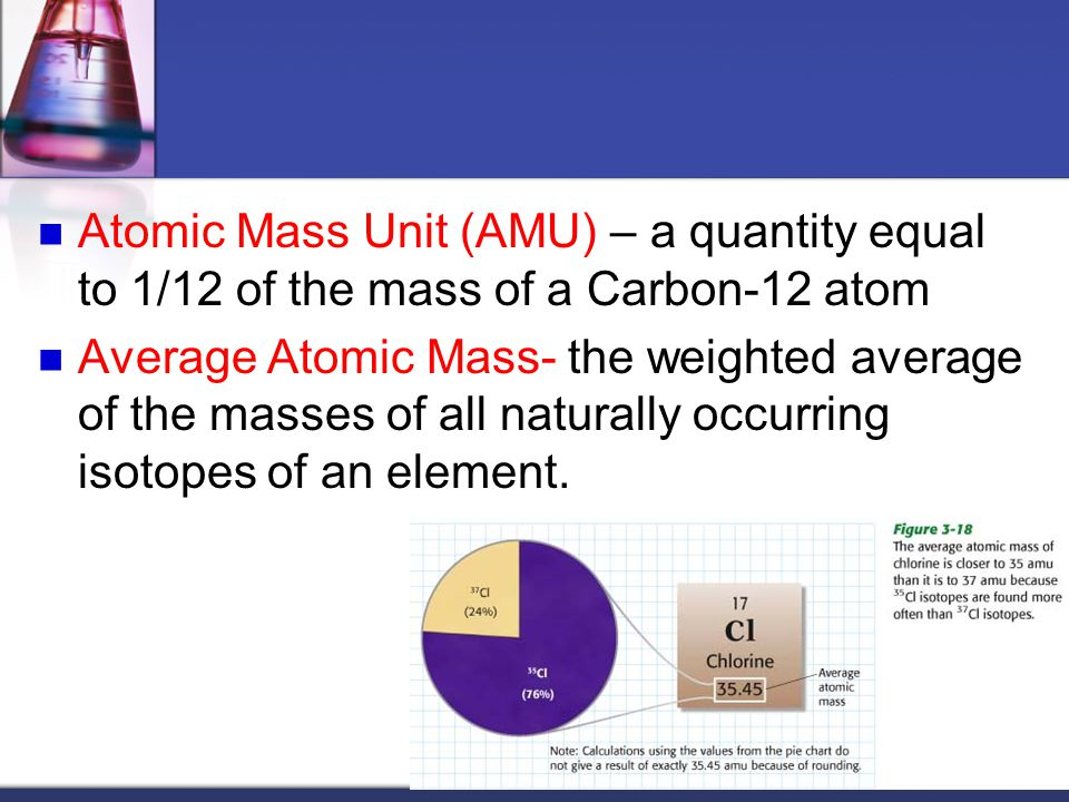 Atomic Mass Unit (AMU) – a quantity equal to 1/12 of the mass of a Carbon-12 atom Average Atomic Mass- the weighted average of the masses of all natur
