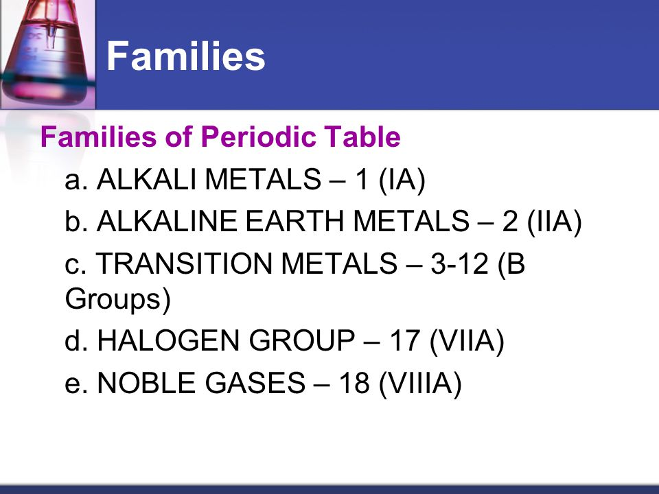 Families Families of Periodic Table a. ALKALI METALS – 1 (IA) b. ALKALINE EARTH METALS – 2 (IIA) c. TRANSITION METALS – 3-12 (B Groups) d. HALOGEN GRO