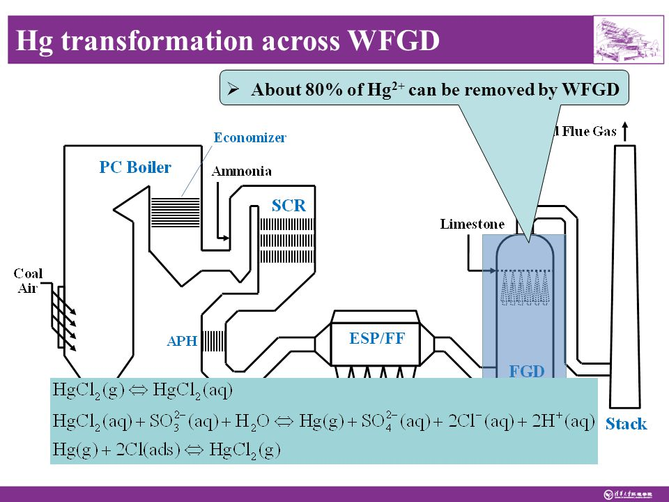 Hg transformation across WFGD ESP/FF  About 80% of Hg 2+ can be removed by WFGD