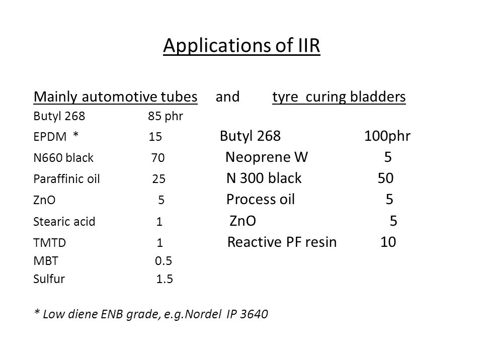 Applications of IIR Mainly automotive tubes and tyre curing bladders Butyl 268 85 phr EPDM * 15 Butyl 268 100phr N660 black 70 Neoprene W 5 Paraffinic