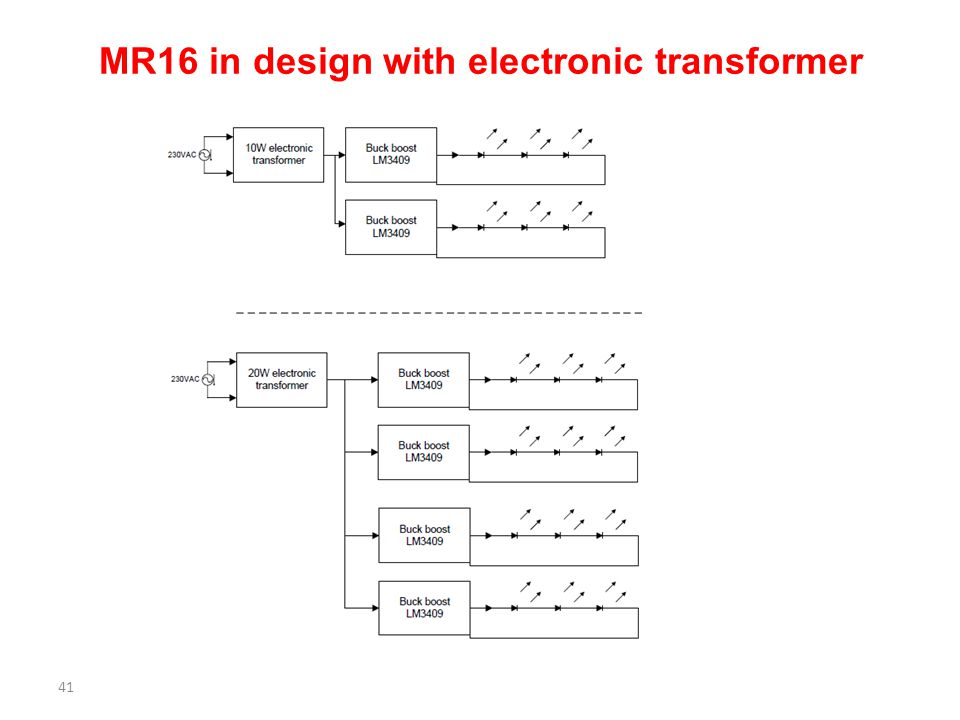 MR16 in design with electronic transformer 41