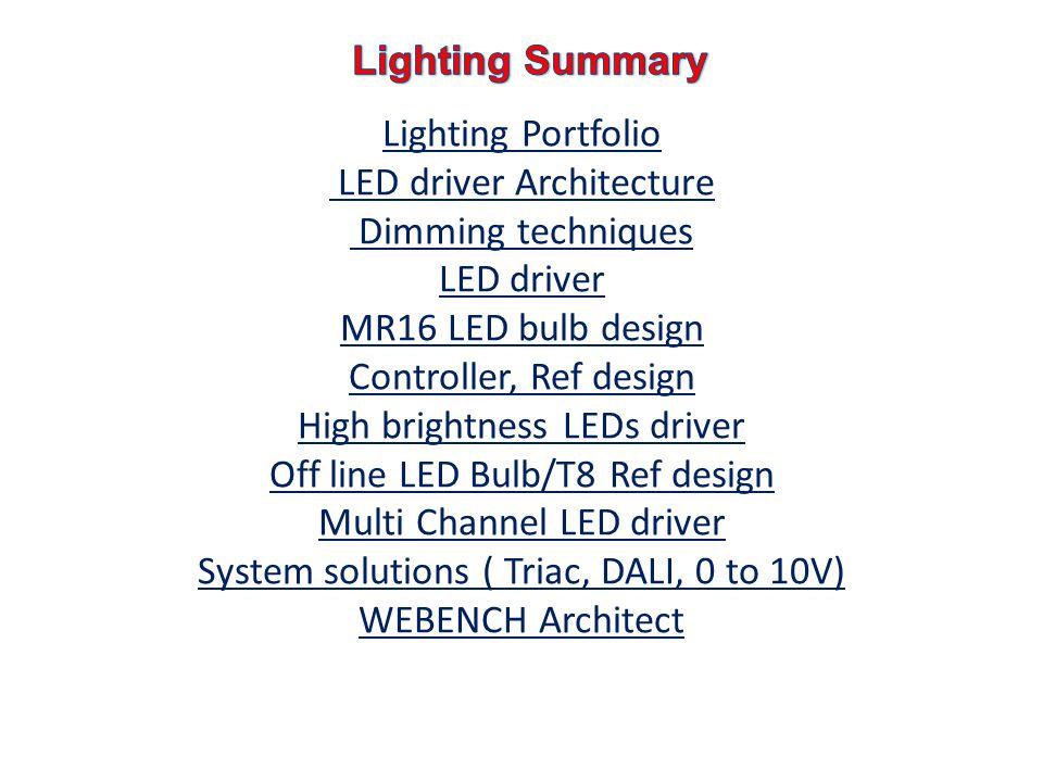 Lighting Portfolio LED driver Architecture Dimming techniques LED driver MR16 LED bulb design Controller, Ref design High brightness LEDs driver Off line LED Bulb/T8 Ref design Multi Channel LED driver System solutions ( Triac, DALI, 0 to 10V) WEBENCH Architect