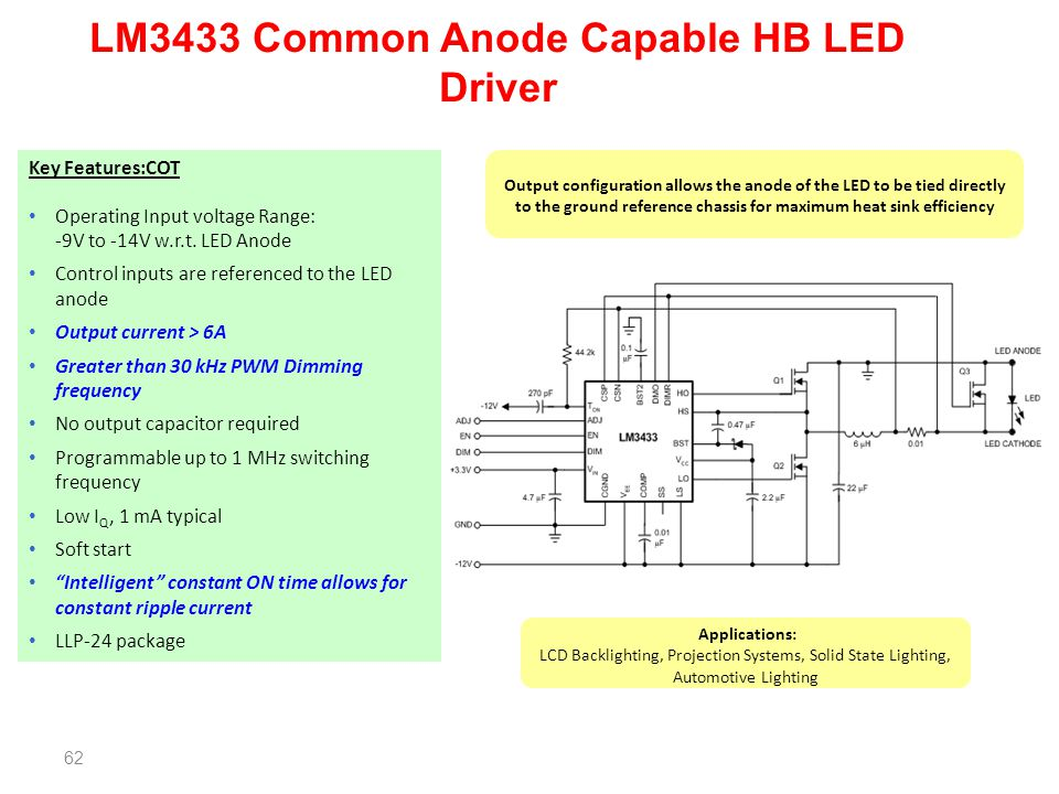 62 LM3433 Common Anode Capable HB LED Driver Key Features:COT Operating Input voltage Range: -9V to -14V w.r.t. LED Anode Control inputs are reference