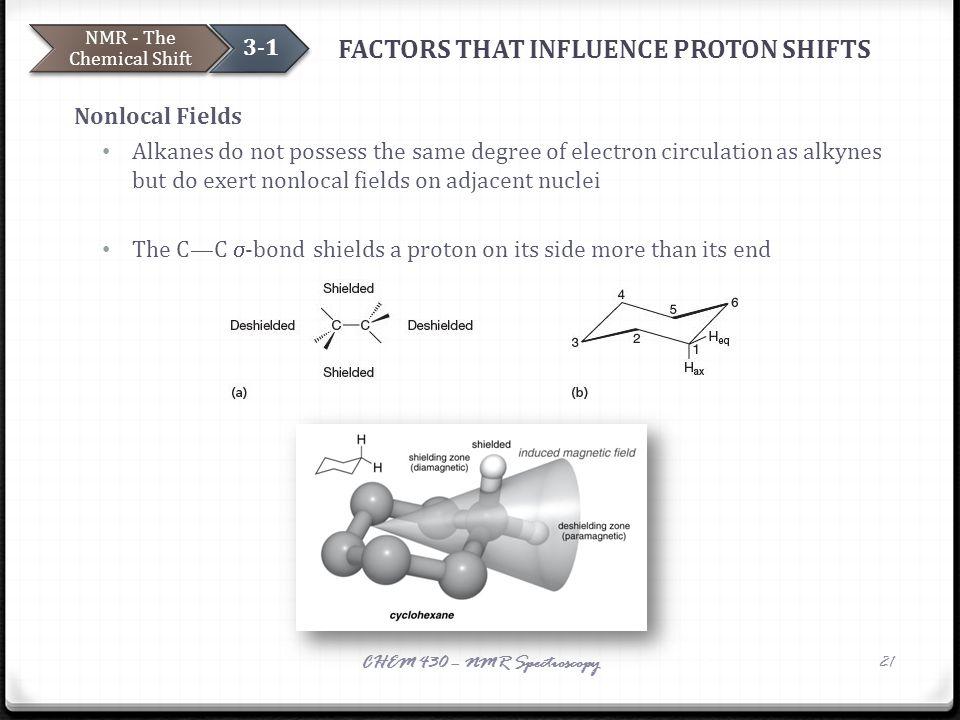 FACTORS THAT INFLUENCE PROTON SHIFTS Nonlocal Fields Alkanes do not possess the same degree of electron circulation as alkynes but do exert nonlocal f