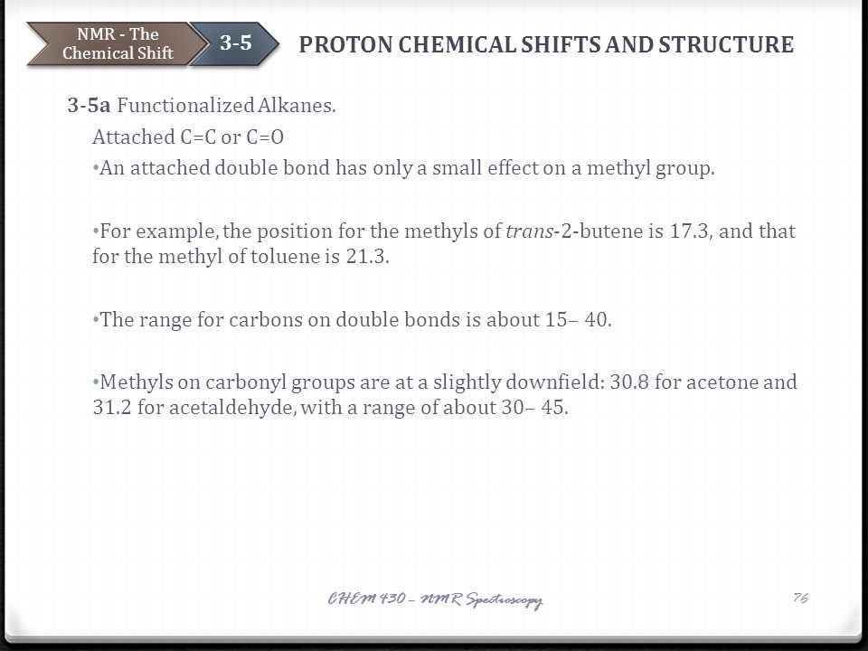 PROTON CHEMICAL SHIFTS AND STRUCTURE 3-5a Functionalized Alkanes. Attached C=C or C=O An attached double bond has only a small effect on a methyl grou