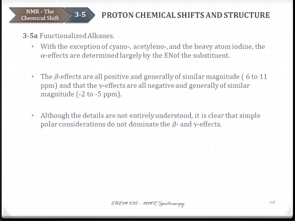 PROTON CHEMICAL SHIFTS AND STRUCTURE 3-5a Functionalized Alkanes. With the exception of cyano-, acetyleno-, and the heavy atom iodine, the  -effects