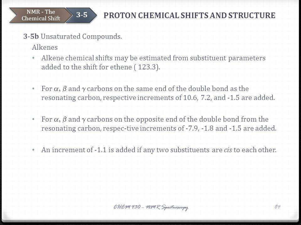 PROTON CHEMICAL SHIFTS AND STRUCTURE 3-5b Unsaturated Compounds. Alkenes Alkene chemical shifts may be estimated from substituent parameters added to