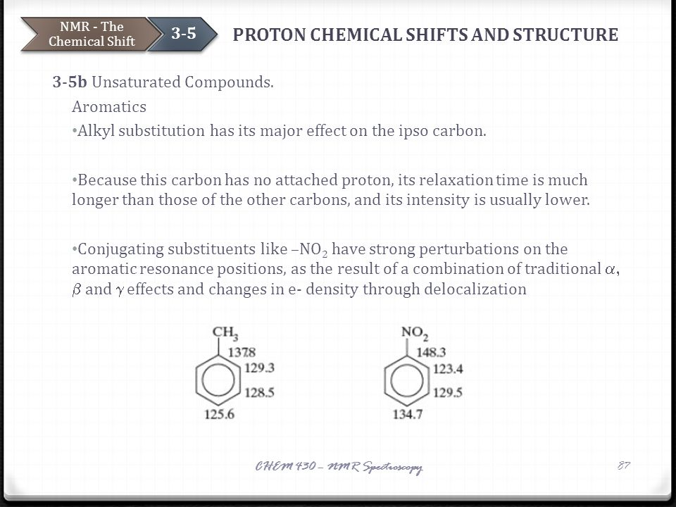 PROTON CHEMICAL SHIFTS AND STRUCTURE 3-5b Unsaturated Compounds. Aromatics Alkyl substitution has its major effect on the ipso carbon. Because this ca